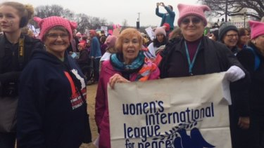 Patricia Wolk, Kay Pitts and Patricia Bennett travelled from California to the march.