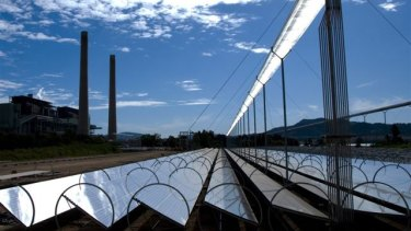 Future present: Liddell power station in the background beside a pilot solar thermal plant.