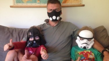 Tim Jarvis' sons, William and Jack, donned Star Wars masks to help their father prepare for breathing on his recent mountaineering expedition.