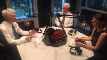 Glyn Davis with Terry Moran and Helen Sullivan.