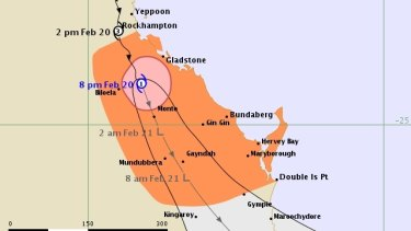 The 8pm Friday tracking map for Tropical Cyclone Marcia.