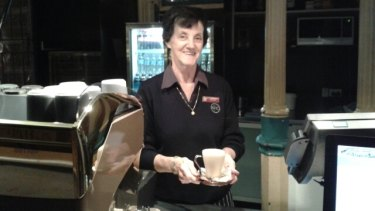The Breakfast Creek Hotel's oldest employee, 70-year-old Aileen Collins.