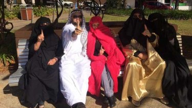 Some of the Party for Freedom members who entered the Gosford Anglican Church dressed as Muslims.