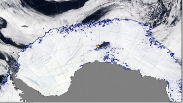 The polynya is located east of the Antarctic Peninsula, and even resembles an Orca.