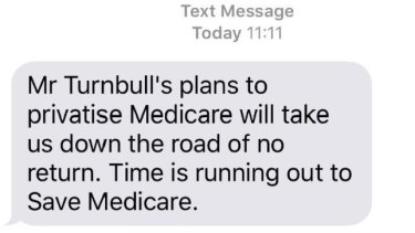 The controversial text message warning of a threat to Medicare from the Coalition before last year's federal election.