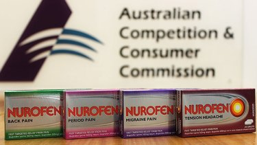 The ACCC said the caplets in all four products contained the same active ingredient, ibuprofen lysine 342mg.