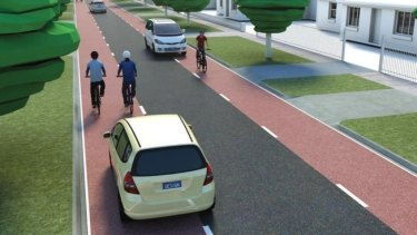 An artist's impression of the bike boulevard proposed for Leake Street in Bayswater.