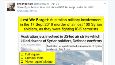 A tweet posted by Sydney University lecturer Tim Anderson on Anzac Day.