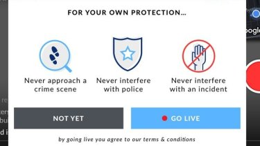 """The Citizen app warns its users to """"never approach a crime scene""""."""
