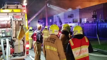 Firefighters tackle a factory blaze in Greenacre.