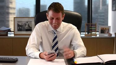 """""""That's actually quite clever"""": Mike Baird has a chuckle at one of the tweets in a still from the video."""
