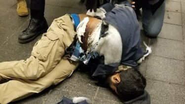 New York bomb suspect Akayed Ullah in the moments after the explosion.