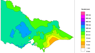 Victorian rainfall in one week to Wednesday.