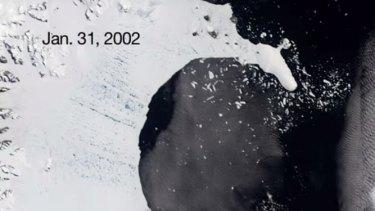 Larsen B as it began to disintegrate in 2002.