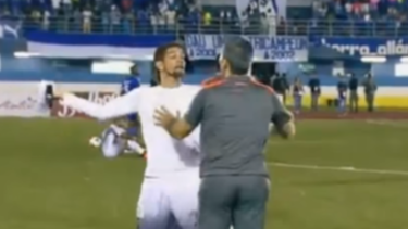 Trouble: Manuel Torres lashes out after the match in Panama.