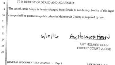 Partial court transcript of the Shupe decision.