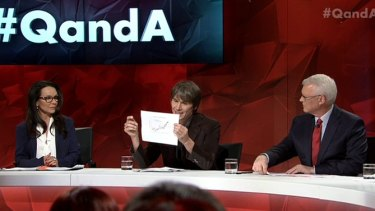 Physicist Brian Cox, centre, does his best to explain why climate change is a reality on <i>Q&A</i> as Linda Burney, left, and host Tony Jones look on.