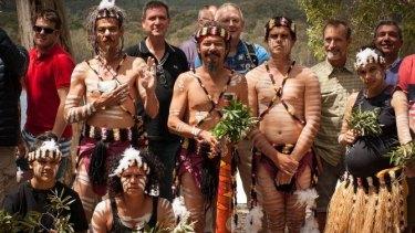 Danish delegates pose with Yuliburri-ba dance group at Brown Lake.