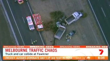 Emergency services at the scene of the fatal accident on the Calder Freeway.