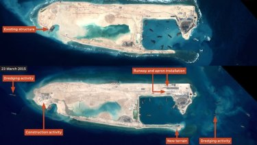 Satellite imagery provided by Airbus shows a before-and-after view of Fiery Cross Reef, which is part of the disputed Spratly Islands.