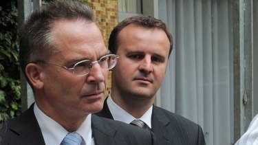Jon Stanhope with Andrew Barr in 2008, when the pair were in cabinet together.