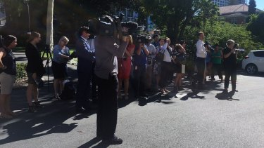 Media outside Stirling Gardens Magistrates Court for the Claremont serial killer case.