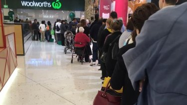 The queue outside Woolworths Top Ryde just before 8am.