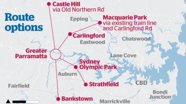 Proposed routes for the Parramatta light rail line.