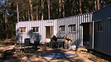 The converted shipping container where Derek Kehler and Helena Curic died.