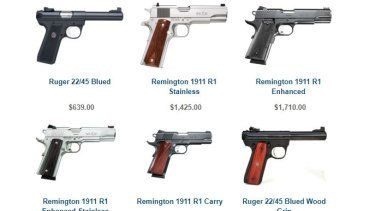 A selection of the hand guns on sale at O'reillys Firearms in Thornbury.