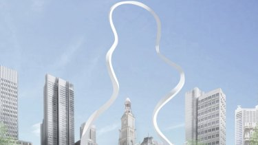 Junya Ishigami's original design for <i>Cloud Arch</i>. Sydney's extraordinarily complex subterranean conditions meant it had to be reworked.