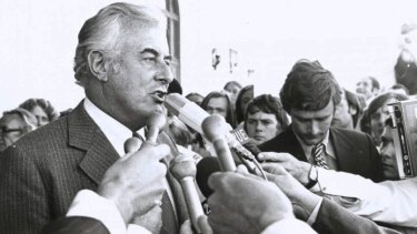 Gough Whitlam speaks on the steps of Parliament House after his government's dismissal on November 11, 1975.