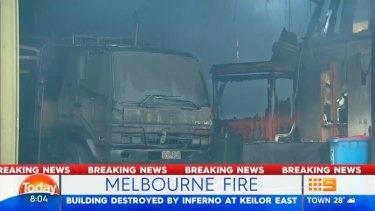 A dozen trucks and excavators were destroyed in the suspicious blaze in Keilor East.