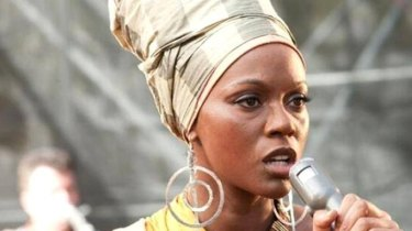 Zoe Saldana as Nina Simone in a scene from 'Nina'.