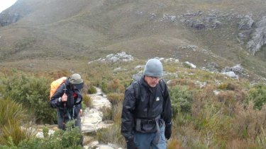 Fellow trekkers Bryan Mather and Alan O'Brien on their way up to the summit