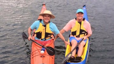 Malcolm Turnbull and John Key kayaking in Sydney Harbour in February.