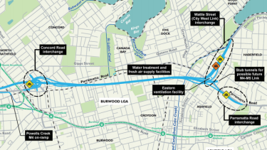 The WestConnex M4 East tunnel, running largely south of Parramatta Road