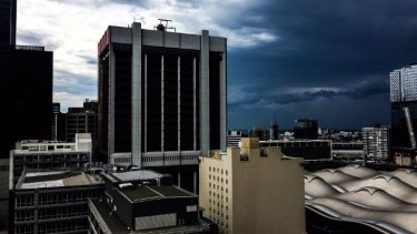 Storm clouds gather over Melbourne on Monday.