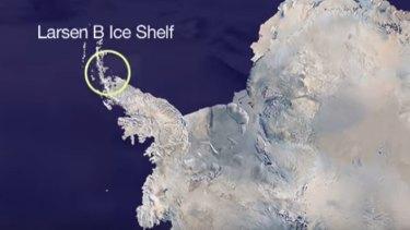 Larsen B's location on the Antarctic Peninsula.