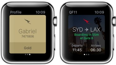 Qantas's Apple Watch app.