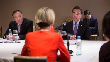 A Chinese government photo of the bilateral meeting today.