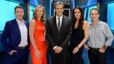 The new Shark Tank line-up: Dr Glen Richards, Naomi Simson, Andrew Banks, Janine Allis and Steve Baxter.