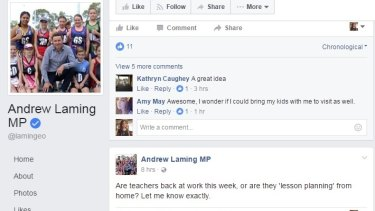 A screenshot of Andrew Laming's post asking if teachers had returned to work yet.