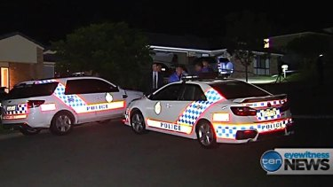 Police at the scene of an Upper Coomera double murder.