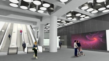 Architect's impression of a ticket hall at a new Crossrail station at Tottenham Court Road.