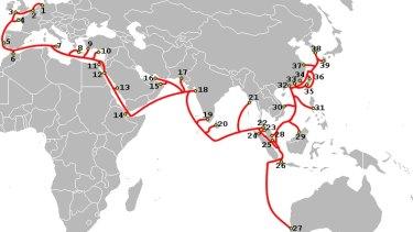 SEA-ME-WE-3's route.