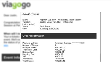 A tennis fan was charged almost $42 in booking fees for each ticket for the Hopman Cup by Viagogo.