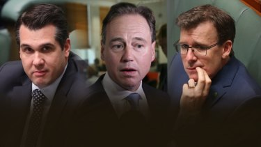 Hauled before the Victorian Supreme Court: Michael Sukkar, Greg Hunt and Alan Tudge.