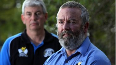 CFMEU members Lee Webb (left) and Dave McLachlan on April 19 - the day Mr McLachlan was sacked.