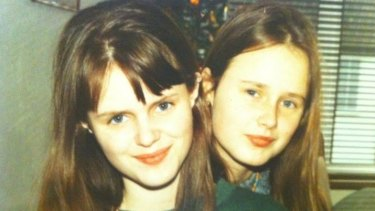 "Cat Rodie, right, aged 16 with her sister. ""I may have looked more grown up than my age, but I wasn't the hideous monster I imagined myself to be."""